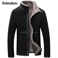 KOLMAKOV 2017 New Winter High Quality Men S Stand Collar Lambswool Coats Motorcycle Jackets Thicken Fleece