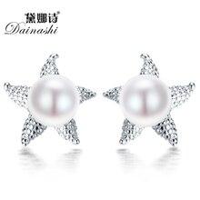 Dainashi Real 925 Sea Star Starfish Pendientes 8-9mm perla natural Pendiente Del Perno Prisionero para las mujeres de joyería de moda bijoux pendiente