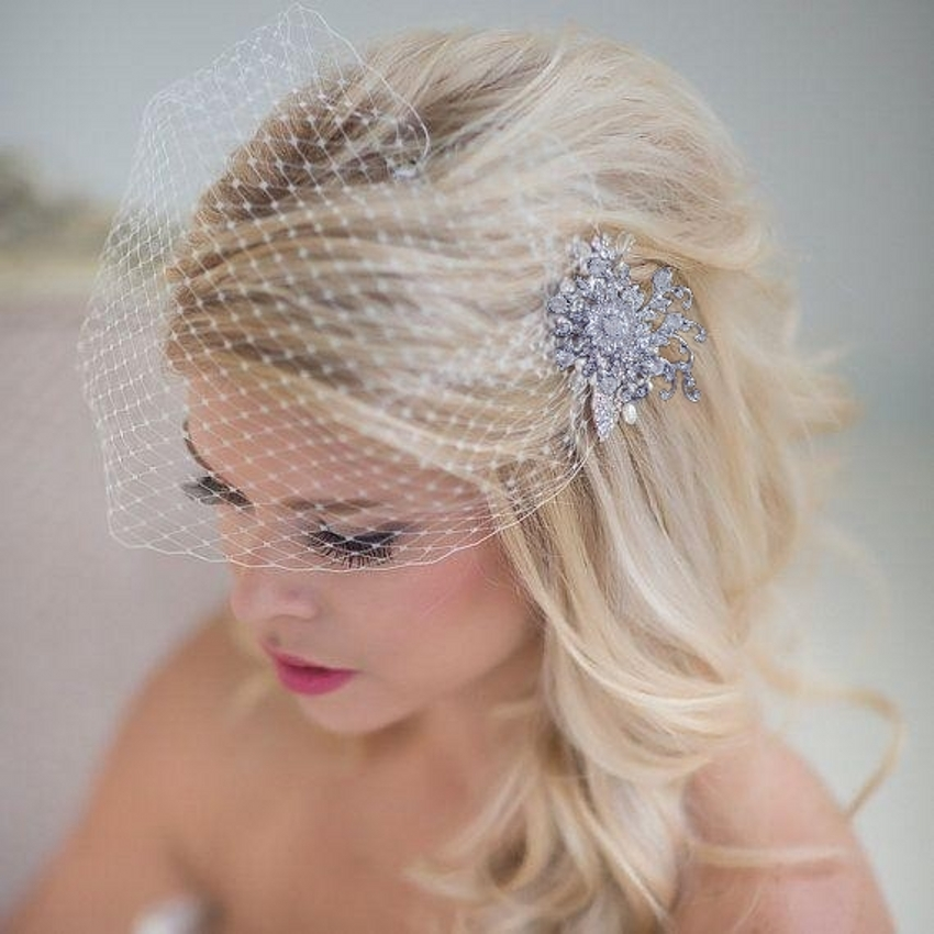 French Net Blusher Birdcage Veil Bridal Headpieces  Jewelry Brooche S9