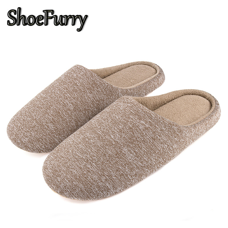 ShoeFurry Winter Men Casual Shoes Home Slippers Antiskid Mute Bedroom Slippers Man Cotton Shoes Male Warm Plush Indoor Slippers