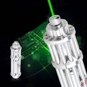 Caneta Laser Verde de Prata de alumínio 8000 m Ajustável Green Laser Pointer Pen Feixe de Luz 0.5 MW Contínua Linha de Presentes