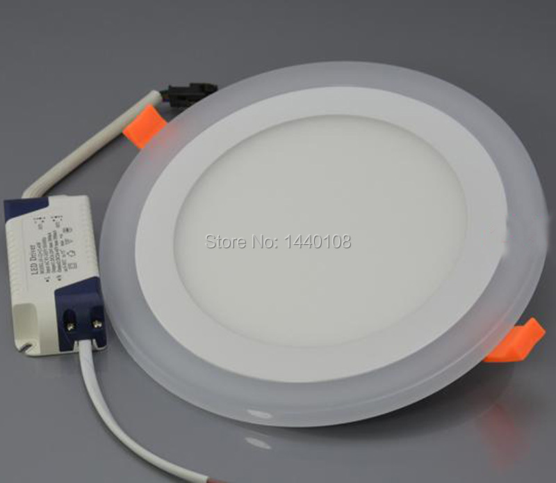 5pcs/lot double color display led downlights 6w 12w 18w led ceiling recessed grid downlight slim led flat panel light