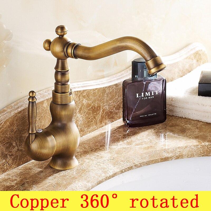Robinet de lavabo de salle de bain rétro à poignée unique vintage, robinet de bassin en laiton chaud et froid, robinet de lavabo de cuisine en cuivre Antique toilette