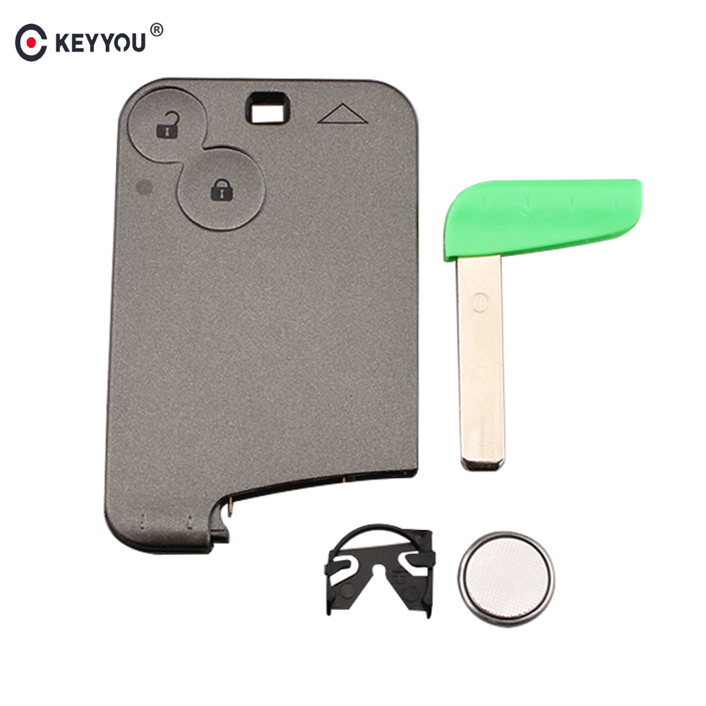 KEYYOU Replacement Keyless Smart Card Remote Key Fob 2 Button For Renault  Laguna Espace 433MHZ with ID46 chip Free shipping