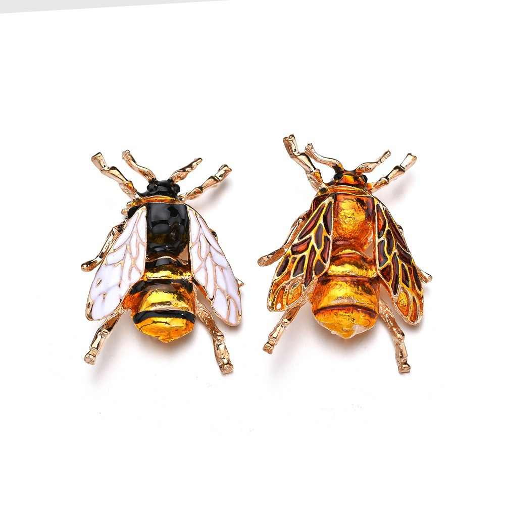 Retro Antique Plated Crystal Bee Pins And Brooches For Women Party Brooch Pins Collar Accessories