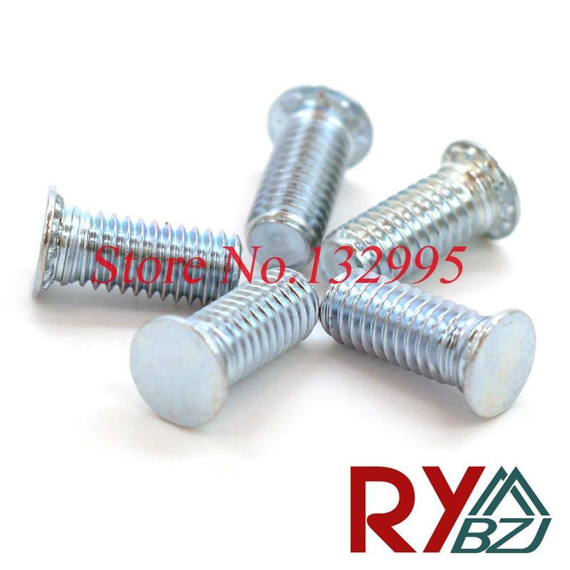 100pcs/lot M3,M4,M5,M6 M8*L PEM Pressure Riveting screw Pressure rivet screw Carbom steel Flush head studs FH boegli boegli m 100