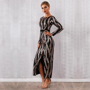 Image 4 - Newest Celebrity Party Long Dress Women Long Sleeve O Neck Sequined Sexy Split NightClub Backless Maxi Dress Women Vestidos