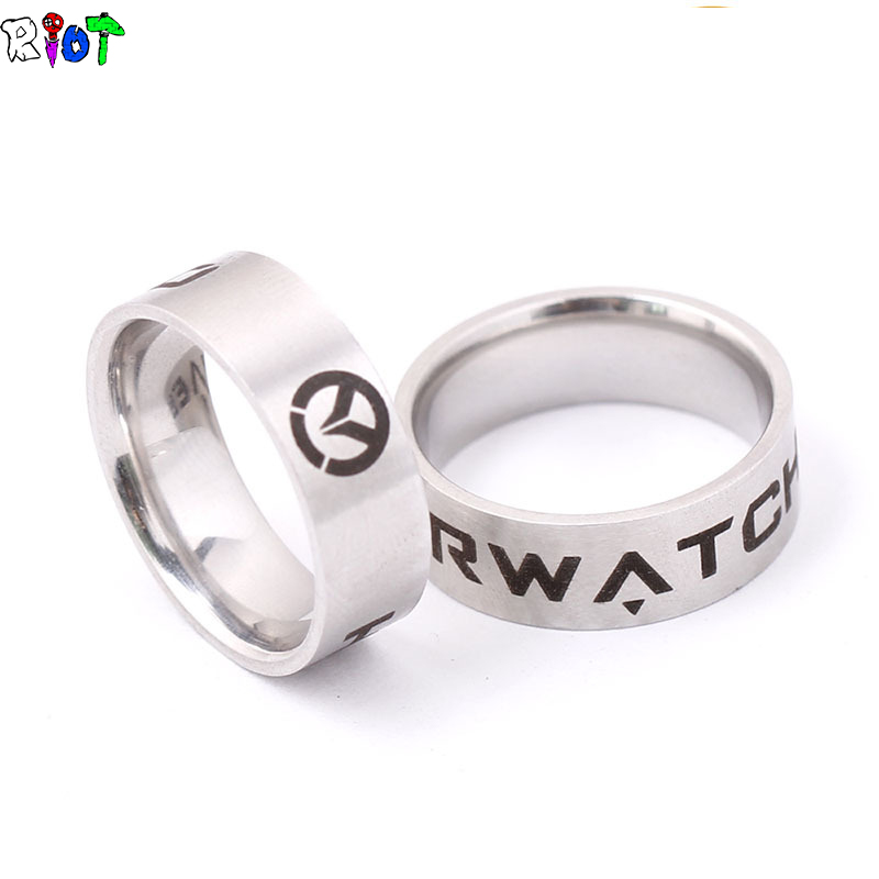 FPS Game Overwatch Ring Men and women jewelry Rings Stainless Steel bague Holder US Size 8# 9# 10# 11# Dropshipping OW Fans gift