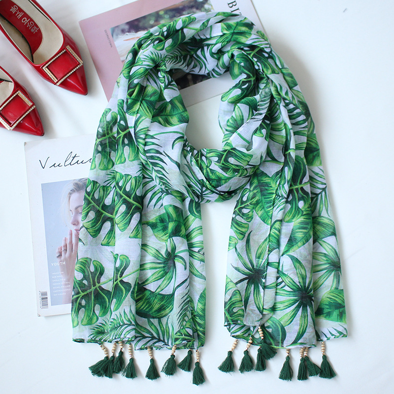 2018 Green Leaves Print National Wind Women Scarves Spring Summer Beach Towel Air Conditioning Shawl