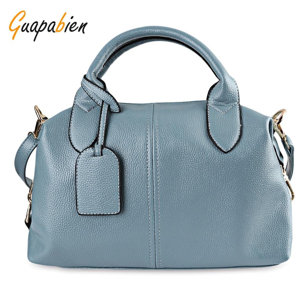 Guapabien Fashion Solid Women Leather Bag High Quality Zipper Big Capacity Ladie