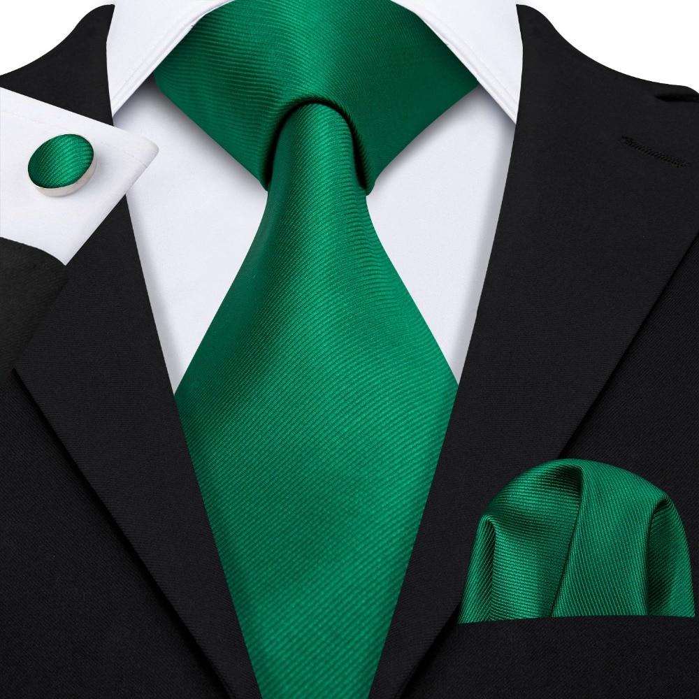 2019 Luxury Brand Green Ties Gifts For Men 100% Silk Barry.Wang NeckTies Handkerchief Cufflinks Set For Wedding Business LS-5115