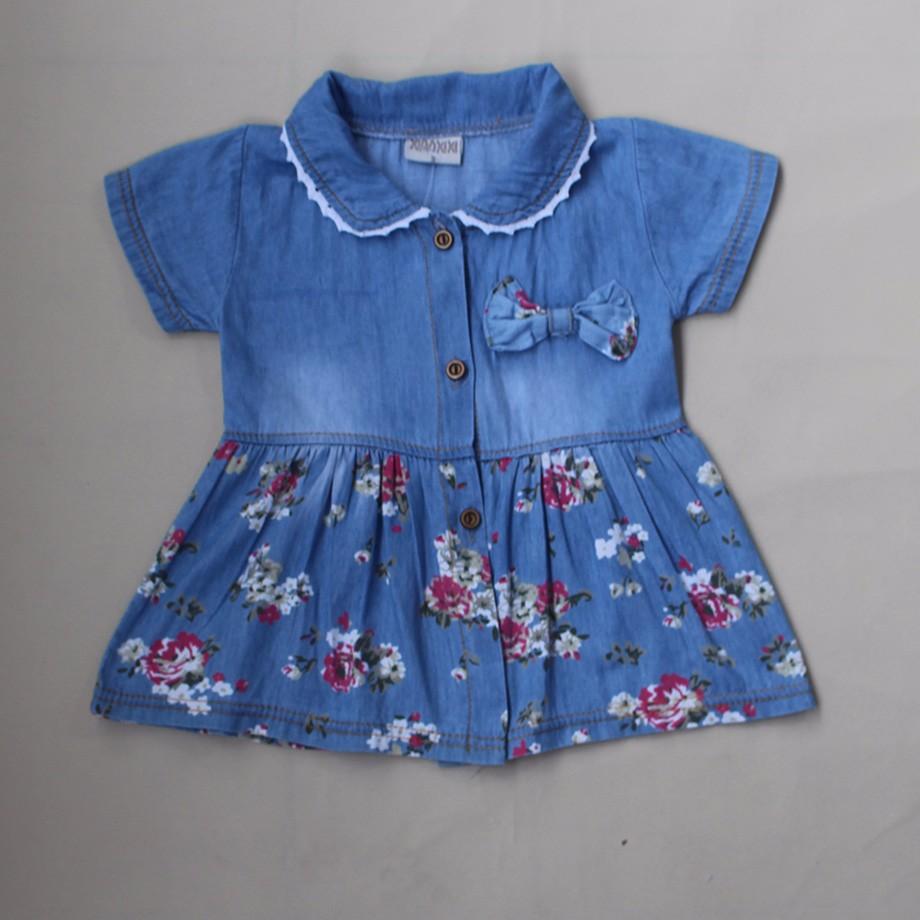 New Spring Autumn Denim Baby Girls Dress Floral Bow Infant Princess Dress Casual Short Sleeve Kids Jeans Dress Baby Girl Clothes 4