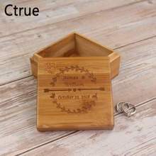 Personalized Wedding Flora Arrow Engagement Wooden Ring Bearer Box Rustic Holder ,Custom Name Date