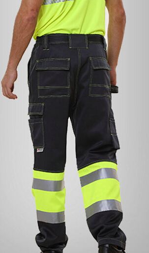 men's reflective pant with side pockets mens cargo pants men's safety working pant Mens High Visibility Trousers orange 1pcs 5