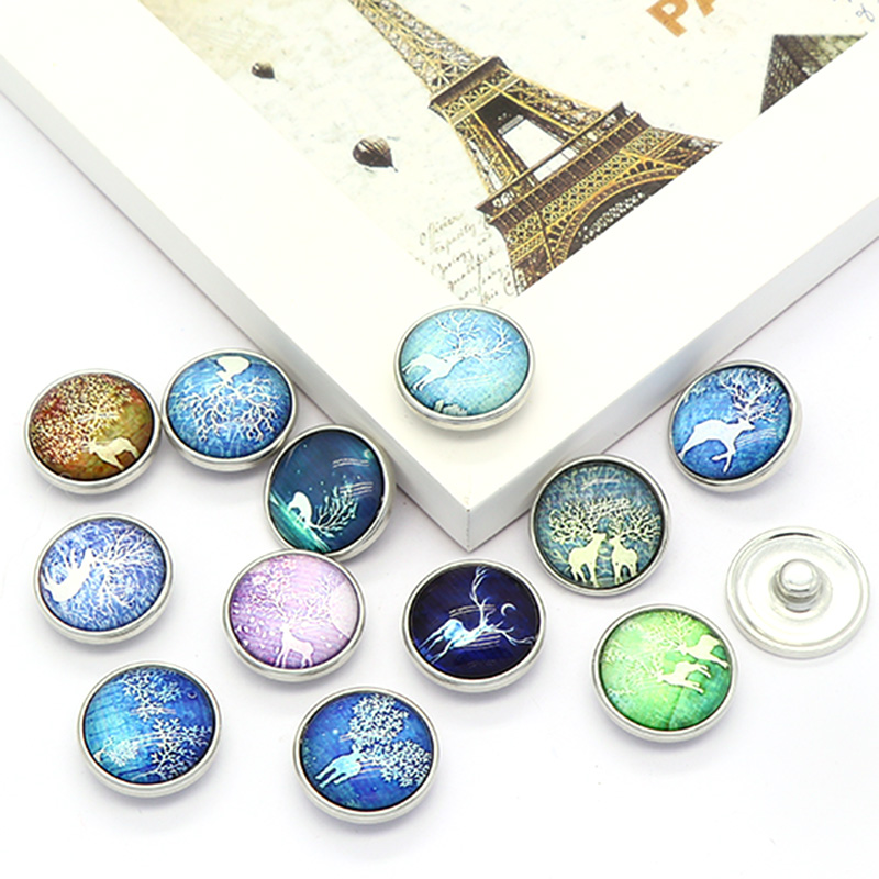 New Fashion 12pcs High Quality 18mm Mixed Elk Deer Glass Metal Snaps buttons DIY Snap Charms Jewelry Bracelet&Bangle