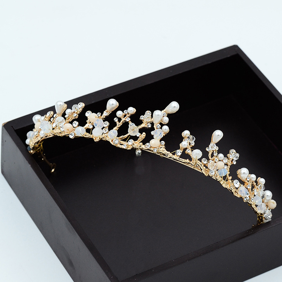 1 Satz/los Prinzessin Braut Hochzeit Blume Krone Und Diademe Mit Ohrringe Halskette Kristall Romantische Schmuck-set Zubehör Frauen QualitäTswaren
