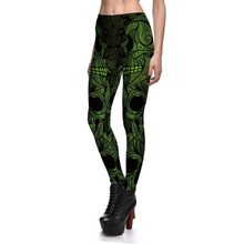ab21d3a43a9c1 3D Printing Halloween Leggings Fitness Women's Green Dark Totem Skeleton  Sexy Stretch Pants Skinny Active Cool Trousers