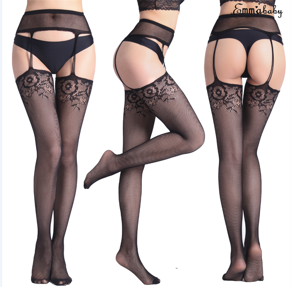 Sexy Lingerie Women Stockings Lace Garter Belt Fishnet Pantyhose Stocking New Black