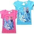Niños chicas manga corta camiseta Elsa superior Anna camiseta de la historieta del verano camiseta de algodón 6 unids/lote 2 color