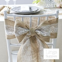 2pc Jute Yarn Lace Wedding Decoration Bow Linen Chair Bowknot 15cm Width Table Runner Burlap Chair