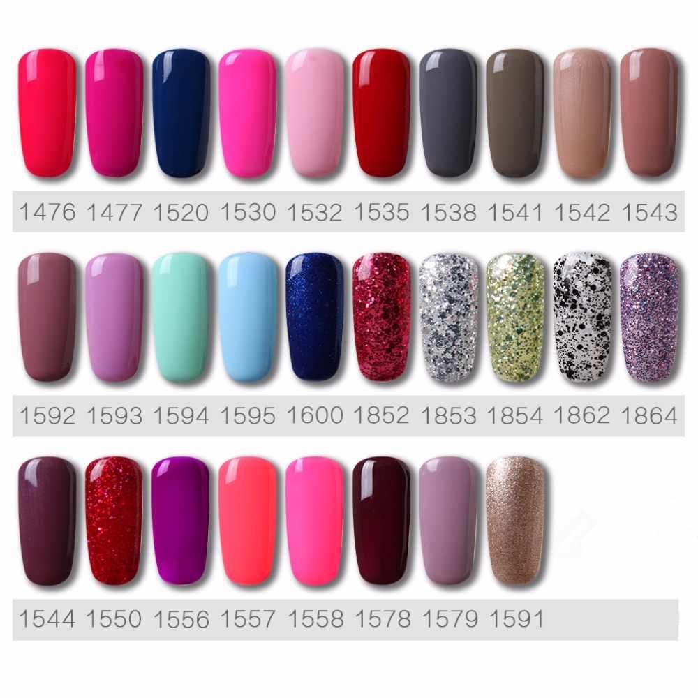 HNM 8ML Pure 58 Colors UV Nail Gel Black Pink Red Blue Grey Lucky Nail Varnish Lacquer Hybrid Enamels Primer Base Top Art Polish