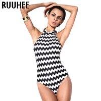 RUUHEE Swimwear Women Swimsuit Bodysuit One Piece Striped Bathing Suit Monokini Summer Beachwear Padded Maillot De