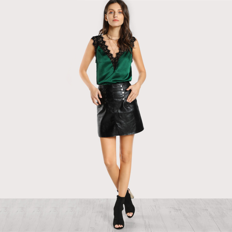 B&N Green Elegant Workwear Women\`s Sleeveless Tops Lace Trim Double V Neck Satin Silk Top Sexy Tops for Women Fitness Tank Top2