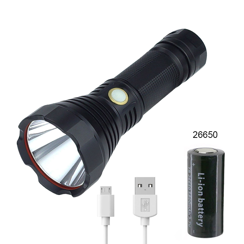 USB Charger Rechargeable Adjustable Flashlight XML SST40 High Power Light Torch 26650/18650 Battery+USB line