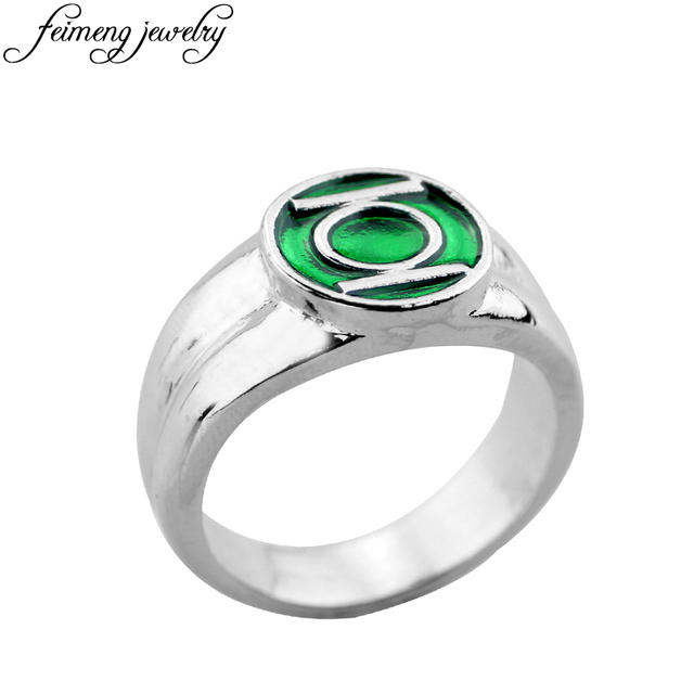 super hero green lantern ring high quality green enamel superhero logo rings for women men fashion - Green Lantern Wedding Ring