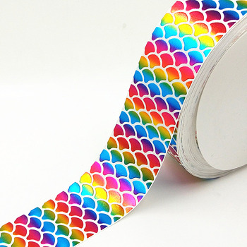 Q&N ribbon 3inch 75mm colorful fish scales foil printed grosgrain ribbon webbing 50yards/roll for headband free shipping