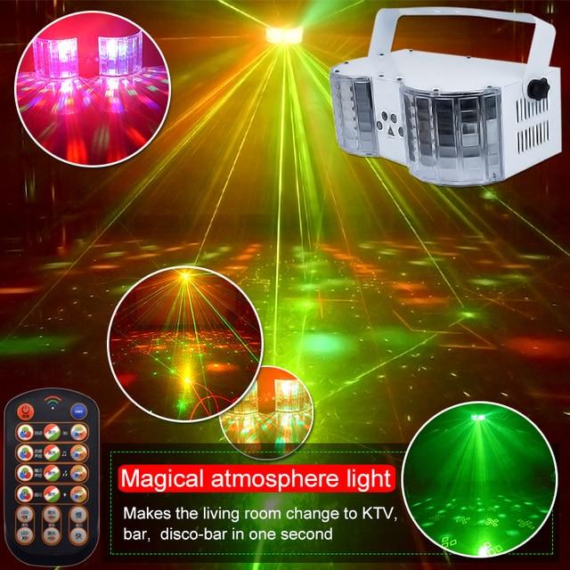 Iluminação da borboleta do laser do dobro espelho 4 hole para a decoração do palco luzes da festa do dj do controlador dmx da luz do disco do laser do diodo emissor de luz de ysh