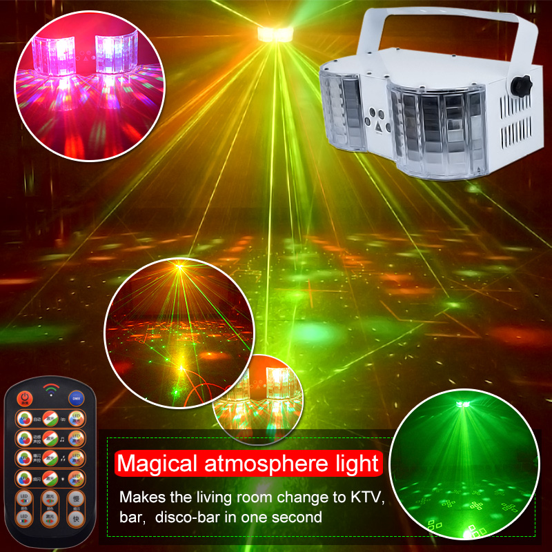YSH LED Laser Disco Light DMX Controller DJ Party Lights Double-Mirror 4-Hole Laser Butterfly lighting for Stage Decoration