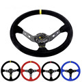 Unversal 14inch 350mmDeep Corn Drifting OMP Style Steering Wheel Suede Leather Water-Proof Slip-Resistant Steering Wheel Cover