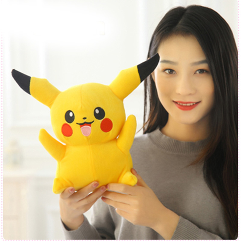 Happy Pikachu Plush Toy , 25 cm Cute Big Eyes Dolls For Children Toy , High Quality PP Cotton Brinquedos Kids Gift cute fish style soft plush pp cotton toy orange white black
