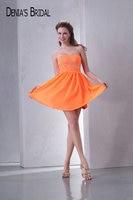 Real Photos Orange Sweetheart Sleeveless Mini Cocktail Dresses Beaded Straight Short Chiffon Prom Gowns
