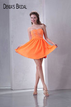 Orange Sleeveless Chiffon Dress for prom
