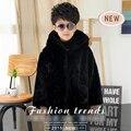 Ropa para niños 2016 de Invierno nueva ropa de los niños chicos sólido con capucha de piel