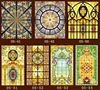 Custom No Glue Static Scrubs Translucent Church Stained Glass Windows And Doors Wardrobe Furniture Foil Stickers