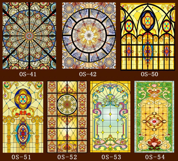 Custom no glue static scrubs translucent church stained for Decorative stained glass windows