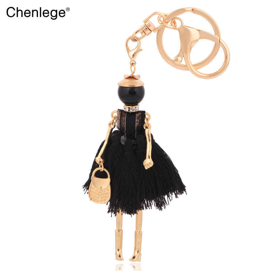 Bán buôn tua màu đen keychain đối với phụ nữ móc chìa khóa quyến rũ nữ keyring phụ kiện vòng chìa khóa thời trang đồ trang sức cô gái
