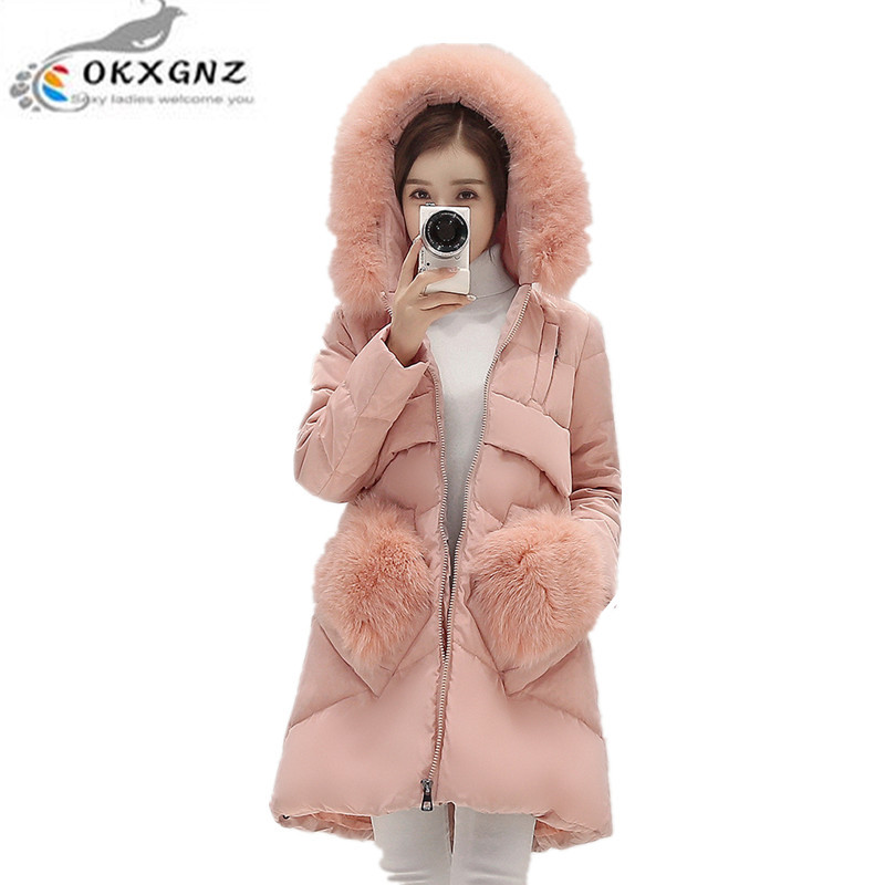OKXGNZ2017 New Women winter Coat Hooded Fur collar Cotton jacket coat fashion Big yards Thicken warm