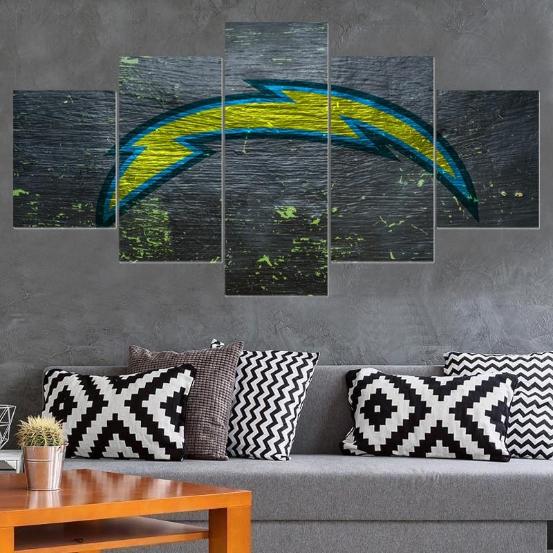 Cartoon Sport Ball San Diego Chargers Logo Paintings Wall Art Home ...