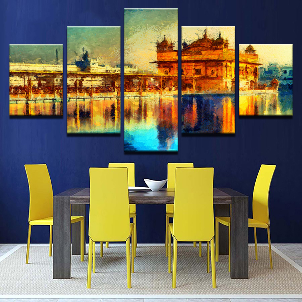 Wall Art Pictures Frame Home Decor Living Room 5 Pieces Golden ...