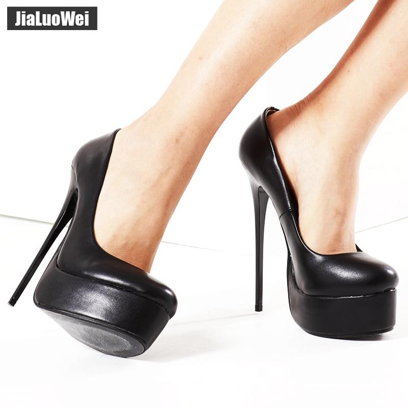 ba481d089398 jialuowei Women Pumps Fetish Extreme High Heels 16cm Stiletto Thin Heel  Sexy Platform Pumps Black Snake Print Slip On Dance Shoe-in Women s Pumps  from Shoes ...