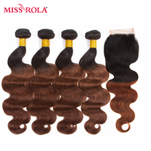 Miss Rola Hair Pre-colored Ombre Indian Body Wave Hair #1B/33 Human Hair Weave 4 Bundles with Closure Hair Extensions Non-Remy