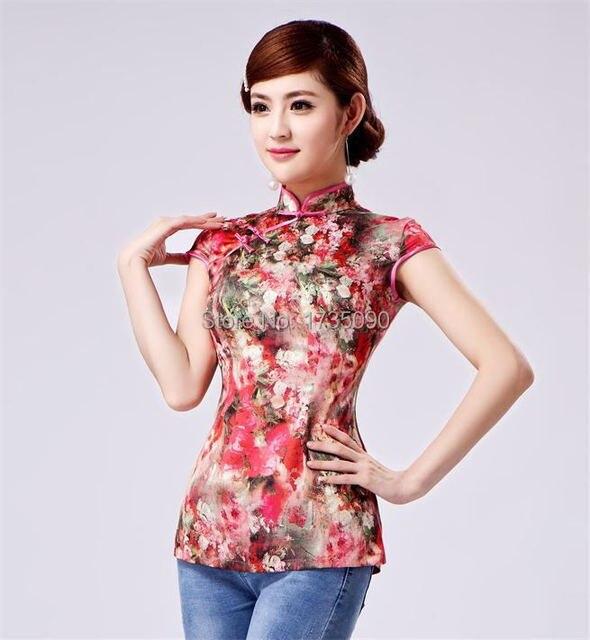 New Fashion Mandarin Collar Chinese Tops Women S Silk Shirt Blouse