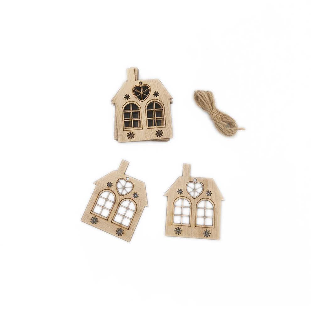 10pcs ไม้ Hollow House Cutout ชิ้นหัตถกรรม Embellishment สำหรับ DIY Crafting Christmas Tree แขวนเครื่องประดับตกแต่งจี้