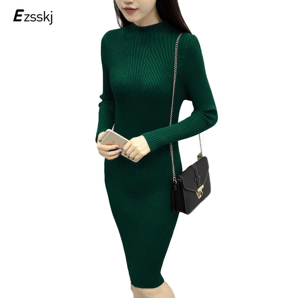 ad5776b3aa8 Зимнее платье миди До Колена Для Женщин осенний свитер вязаное платье  толстый тонкий эластичный Водолазка Сексуальная
