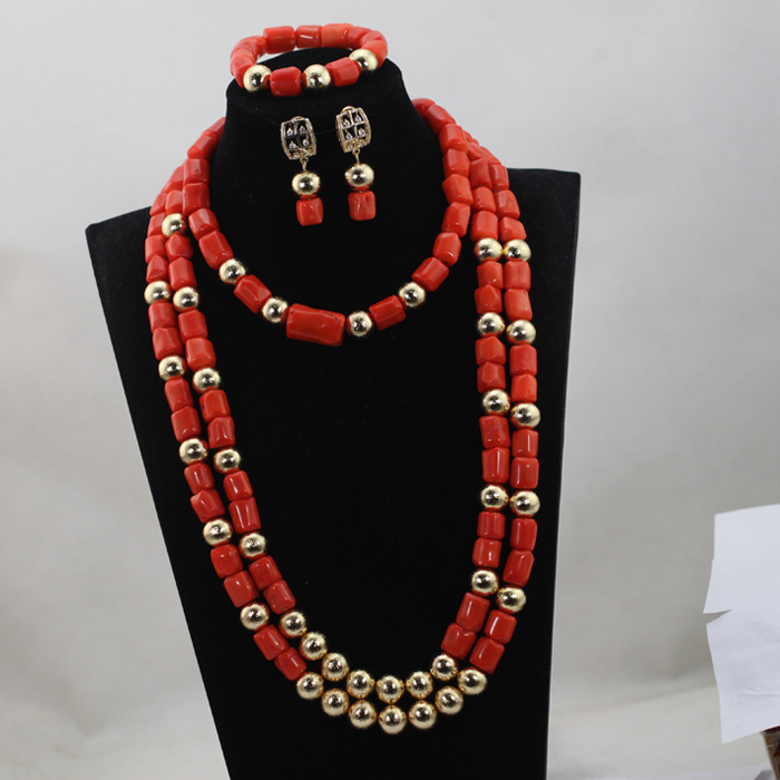 3 Layers Luxury Wedding Women Coral Beads Jewelry Set 28inches Long Beaded Statement Necklace Set Dubai Gold Free ShippingABL8203 Layers Luxury Wedding Women Coral Beads Jewelry Set 28inches Long Beaded Statement Necklace Set Dubai Gold Free ShippingABL820