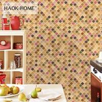 HaokHome Vintage Retro 3d Brick Mosaic Tile Wallpaper Rolls Vinyl Contact Paper For living roomHome Kitchen Bathroom Decoration